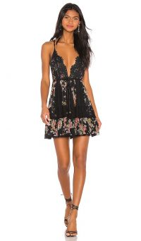 HAH Too Far Gone Dress in Noir Combo | strappy plunge front lace dresses
