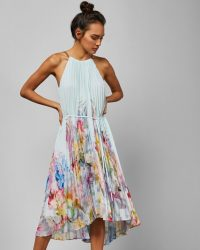 TED BAKER FLORICA Hanging Gardens pleated midi dress mint