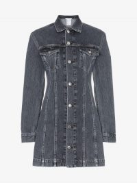Helmut Lang Buttoned Denim Mini Dress ~ black shirt dresses
