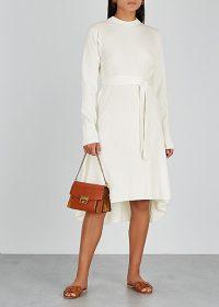 HELMUT LANG Ecru ribbed wool-blend dress ~ luxe high low hem dresses