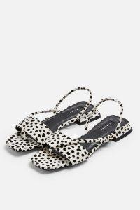 Topshop HESTER Black And White Sandals in Monochrome | flat dalmatian slingbacks