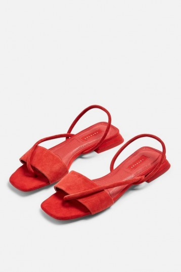 Topshop HESTER Red Sandals | strappy slingback flats