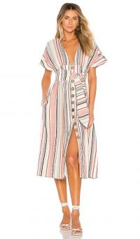 House of Harlow 1960 x REVOLVE Salma Dress in Red Multi | plunge front striped summer frock