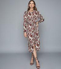 REISS INAYA PRINTED MIDI DRESS BROWN/ WHITE ~ chic long sleeved tie waist dresses