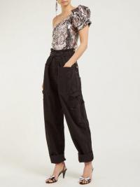 ISABEL MARANT Inny paperbag-waist utility jeans in black ~ utilitarian denim