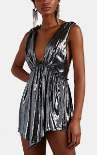 ISABEL MARANT Kyle Lamé Mini-Dress ~ plunging metallic-silver dresses ~ event glamour