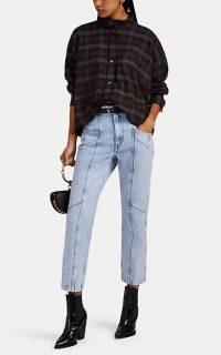 ISABEL MARANT ÉTOILE Notty Straight Crop Jeans ~ light-blue seamed denim ~ cropped leg