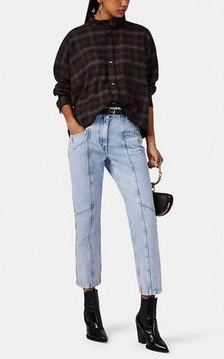 ISABEL MARANT ÉTOILE Notty Straight Crop Jeans ~ light-blue seamed denim ~ cropped leg - flipped