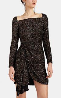 J. MENDEL Glitter-Embellished Velvet Minidress ~ glittering lbd