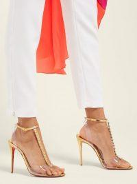 CHRISTIAN LOUBOUTIN Jamais pyramid stud mirrored-leather sandals ~ summer glamour