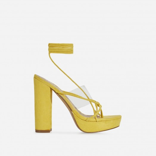 EGO Jamie Lace Up Perspex Platform Heel In Yellow Faux Suede | strappy summer platforms
