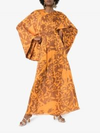 Johanna Ortiz Perpetual Existance Floral Print Maxi Dress ~ orange and brown vintage style dresses