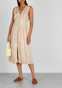 JOIE Valari striped linen-blend midi dress ~ perfect daytime vacation dresses