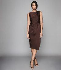 REISS JULIETTA PLEAT DETAILED MIDI DRESS CHOCOLATE ~ dark-brown sleeveless event dresses