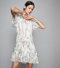 REISS JUNO FLORAL PRINTED MINI DRESS WHITE ~ pretty ruffled dresses
