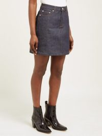 A.P.C. Jupe Standard raw-denim mini skirt in indigo ~ blue A-line skirts