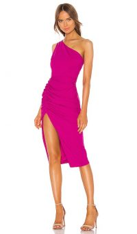 Katie May New Age Dress Electric Pink – one shoulder thigh high spit dresses