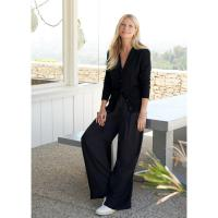 G. Label KELLY WIDE-LEG TROUSERS in BLACK / classic flowy pants
