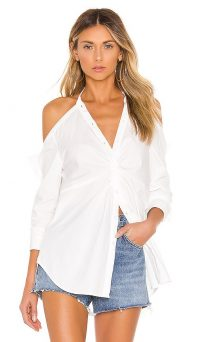 KENDALL + KYLIE Poplin Draped Tunic Top White – cold shoulder shirt