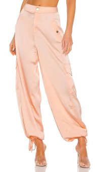 KENDALL + KYLIE Satin Cargo Pant Blush – billowy cuffed ankle tie pants