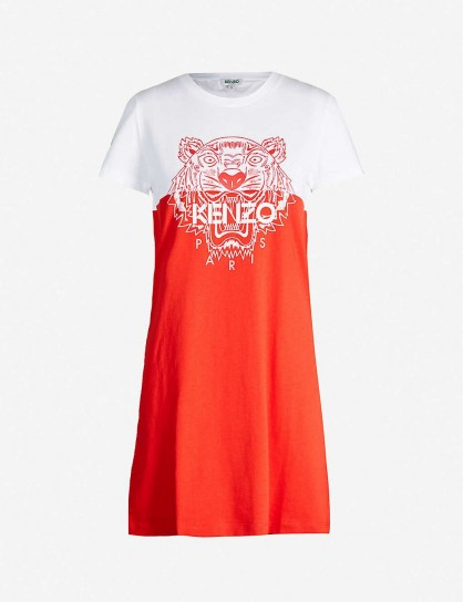 KENZO Actua colour-blocked cotton-jersey T-shirt dress / red and white designer colourblock dresses