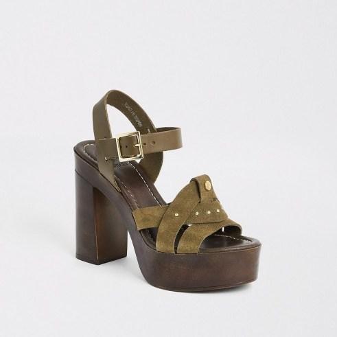 River Island Khaki suede studded platform heels | chunky green summer sandals - flipped