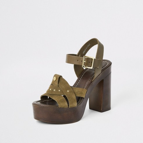 River Island Khaki suede studded platform heels | chunky green summer sandals