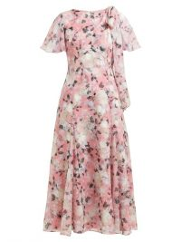 ERDEM Kirstie floral-print silk-chiffon midi dress pink ~ feminine vintage style dresses