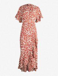 KITRI Freya leopard-print short-sleeved V-neck crepe dress / ruffle trimmed dresses
