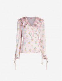 KITRI Jamie floral-print satin top / ditsy prints / frill trimmed wrap blouse