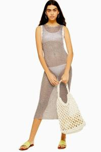 Topshop Knitted Metal Yarn Midaxi Dress in Mink | festival fashion