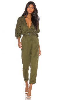 L'Academie Reed Jumpsuit in Green | plunge front jumpsuits
