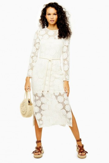 Topshop Lace Rope Belt Midi Dress | semi sheer summer dresses