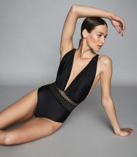 REISS LAILA PLUNGE FRONT SWIMSUIT BLACK ~ strappy cross back swimsuits
