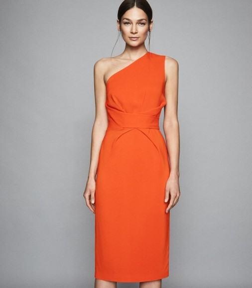 REISS LAURENT ONE SHOULDER SLIM FIT DRESS ORANGE ~ standout evening wear