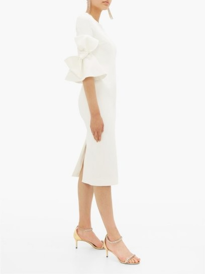 ROKSANDA Lavete bow-embellished ivory crepe midi dress ~ style statement event wear