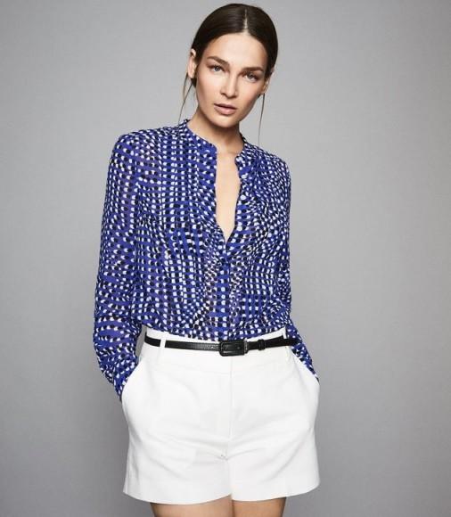 REISS LEA SPOT PRINTED BLOUSE ~ grandad collar blouses