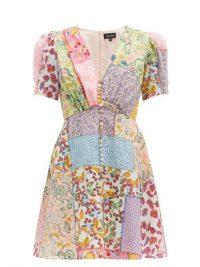 SALONI Lea patchwork-print cotton-blend mini dress ~ mixed florals