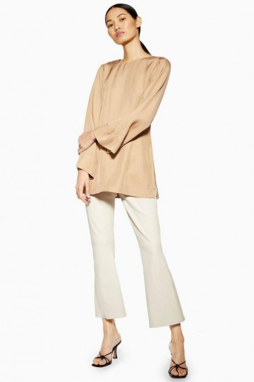 Topshop Boutique Leather Kick Flares in white | neutral cropped trousers
