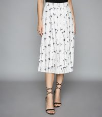 REISS LEONA FLORAL PRINTED PLEATED MIDI SKIRT WHITE ~ painterly prints