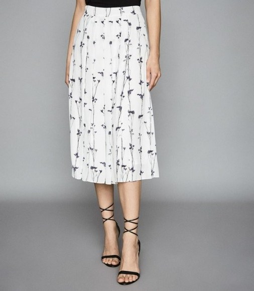 REISS LEONA FLORAL PRINTED PLEATED MIDI SKIRT WHITE ~ painterly prints - flipped