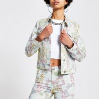 River Island Light blue print denim jacket | casual floral jackets