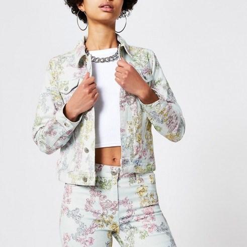 River Island Light blue print denim jacket | casual floral jackets - flipped