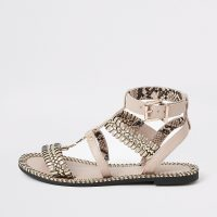 River Island Light pink woven detail caged flat sandal | strappy metallic detail flats