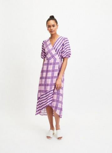 MISS SELFRIDGE Lilac Gingham Midi Dress – purple checks