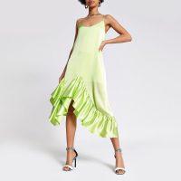 River Island Lime frill midi slip dress | green ruffle hemmed party dresses