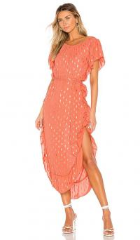 Line & Dot Rhea Dress Orange / shiny metallic foil print