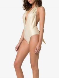 Lisa Marie Fernandez Riri Halterneck Swimsuit in Metallic-Gold | deep plunge swimwear