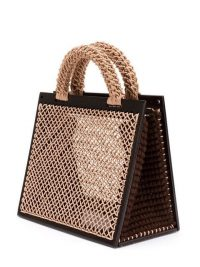 LITKOVSKAYA structured tote bag – beige woven bags – brown wood structured handbag