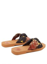 CHLOÉ Little Horse-print jersey and leather sandals ~ brown buckle slides
